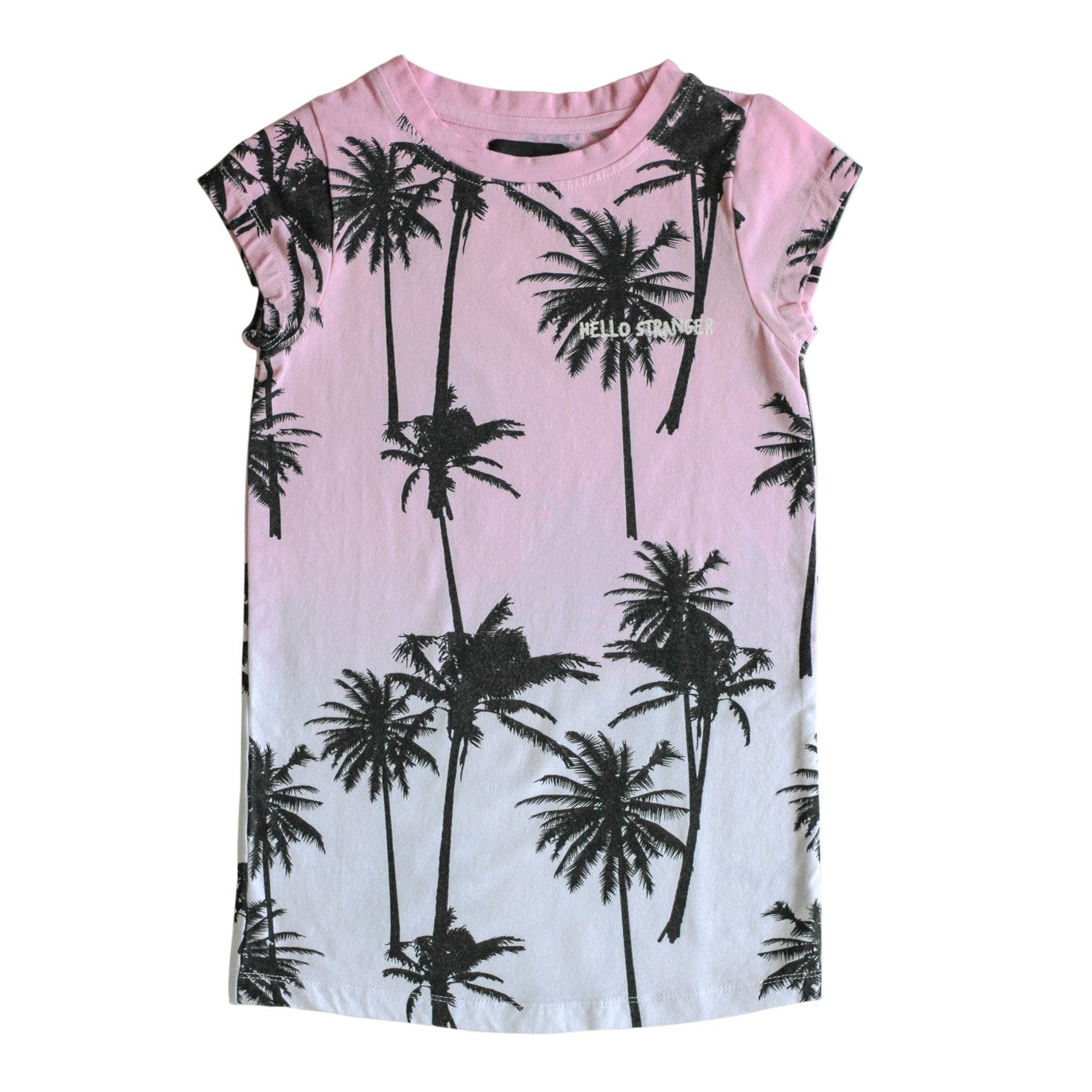 Hello Stranger Palms Tee Dress Pink Dipped LAST ONE SIZE 3