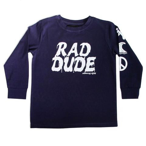 Hello Stranger Rad Dude LS Cuff Tee Navy LAST ONE SIZE 4 | 50% OFF