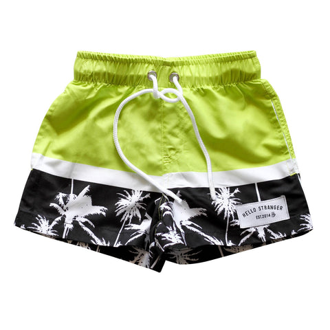 Hello Stranger Palms Boardies Black/Lime