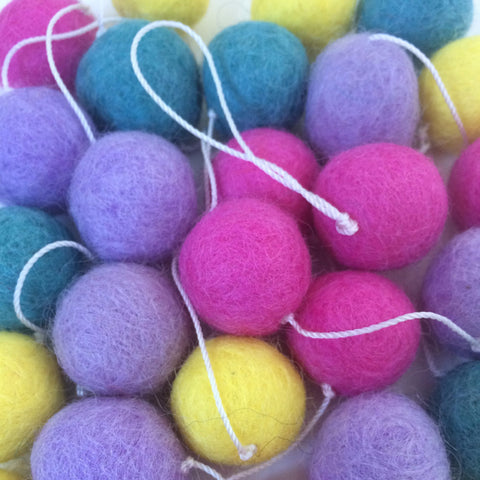 Felt Ball Garland - Hot Pink, Purple, Yellow, Aqua | LAST ONE