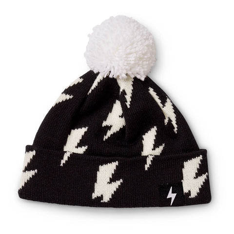 Kapow Lightning Strikes Black Pom Pom Beanie