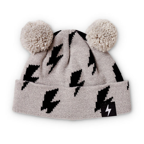 Kapow Lightning Strikes Grey Pom Pom Beanie