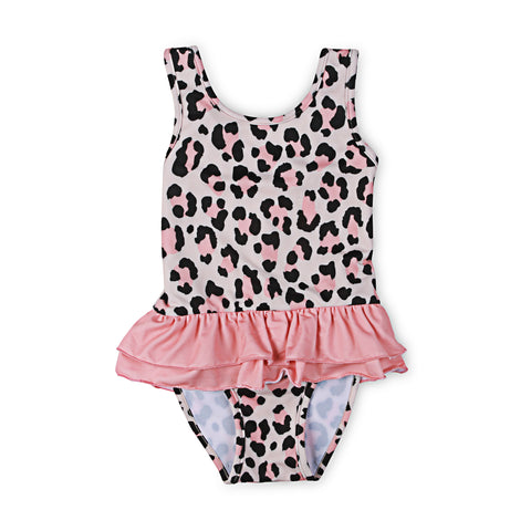40% OFF Kapow Cheetah Ruffle Swimsuit Apricot