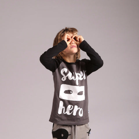 Littlehorn Superhero Raglan Tee Oil/Black | 40% OFF