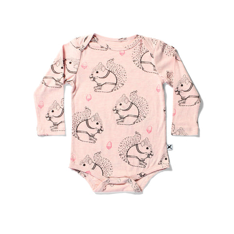 Minti L/S Onesie Squirrels Blush Marle | 50% OFF LAST ONE 0-3M
