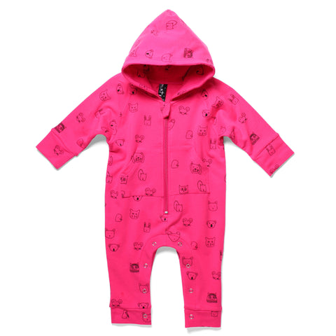 Minti Ziggy Jumpsuit Animal Friends | Hotpink | BE QUICK! LAST ONE SIZE 3-6MTHS
