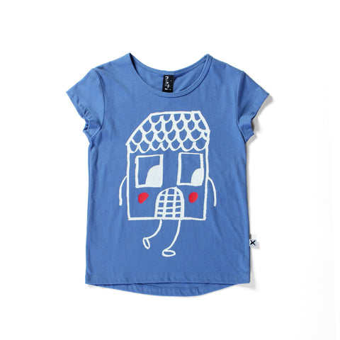 Minti Happy House Capped Tee - Blueberry LAST ONE SIZE 2