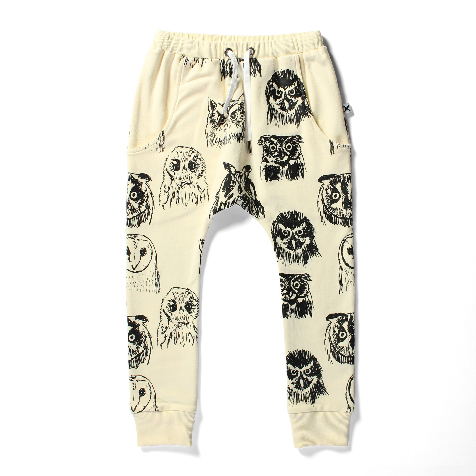 Minti Sketch Owls Drop Trackies Cream | 50% OFF LAST PAIR SIZE 2