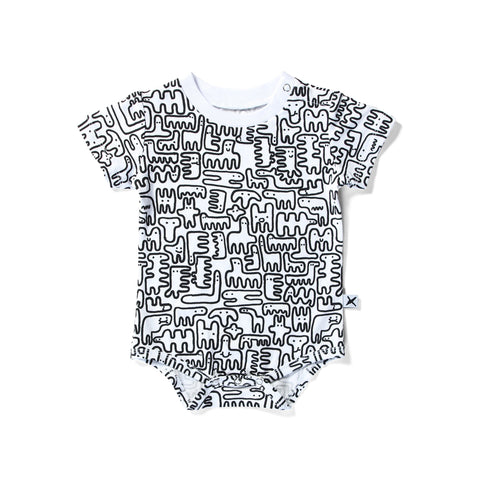 Minti Onesie Texta Monster - White 50% OFF! LAST ONE 12-18MTHS