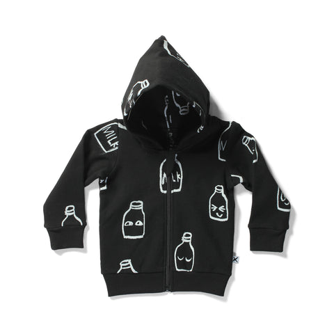 Minti Baby Zip Up Milkbottles Hood Black | 40% 0FF LAST ONE 3-6M