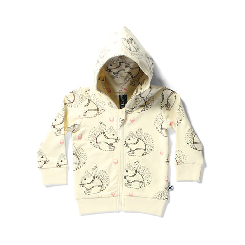 Minti Zip Up Squirrels Hood Cream | 50% OFF LAST ONE 3-6MTHS