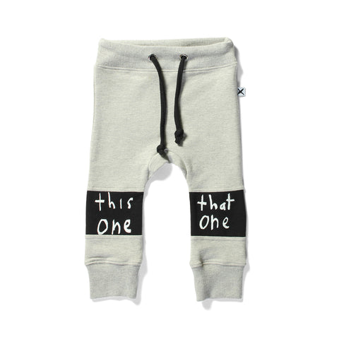 Minti Trackies This/That Grey Marle LAST PAIR 3-6MTH