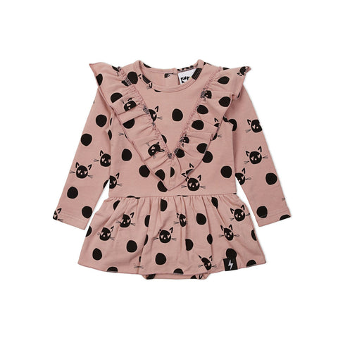 Kapow Spot the Cat Baby Dress Dusty Rose LAST ONE 0-3M