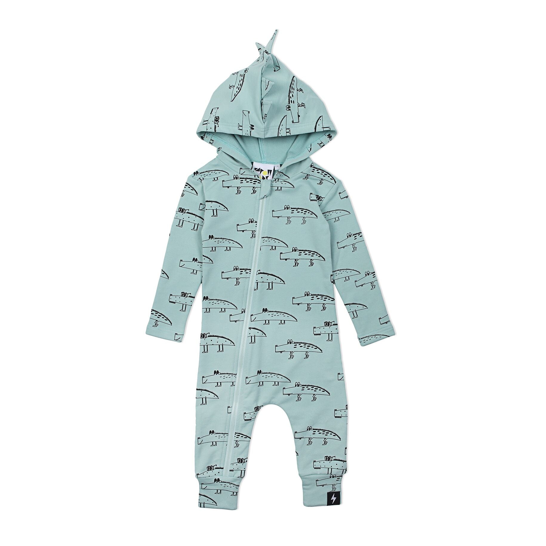Kapow Crocodile Hooded Zip All In One Mint Green
