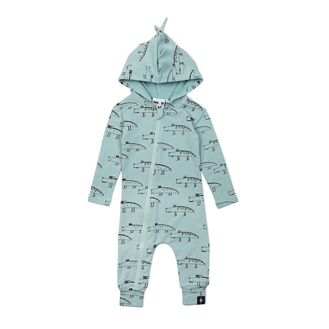 Kapow Crocodile Hooded Zip All In One Mint Green SIZE 0-3M LEFT