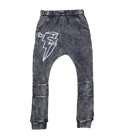 Lightning Bone Harem Trackies - Vintage Black