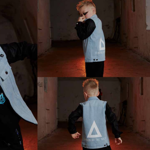 Triangle Biker Jacket Washed Blue | 50% OFF