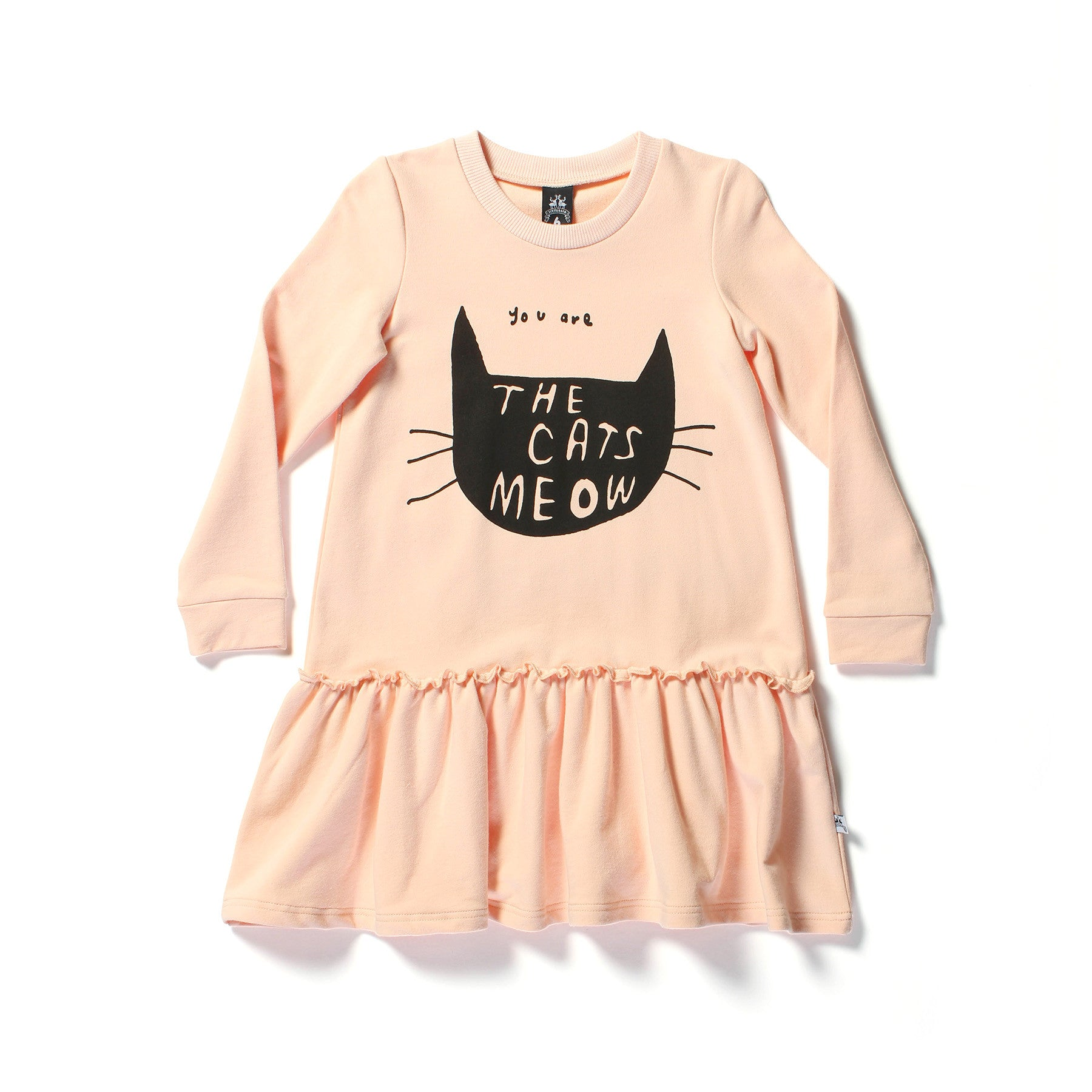 Little Horn Cats Meow Sweater Dress Peach | 50% OFF