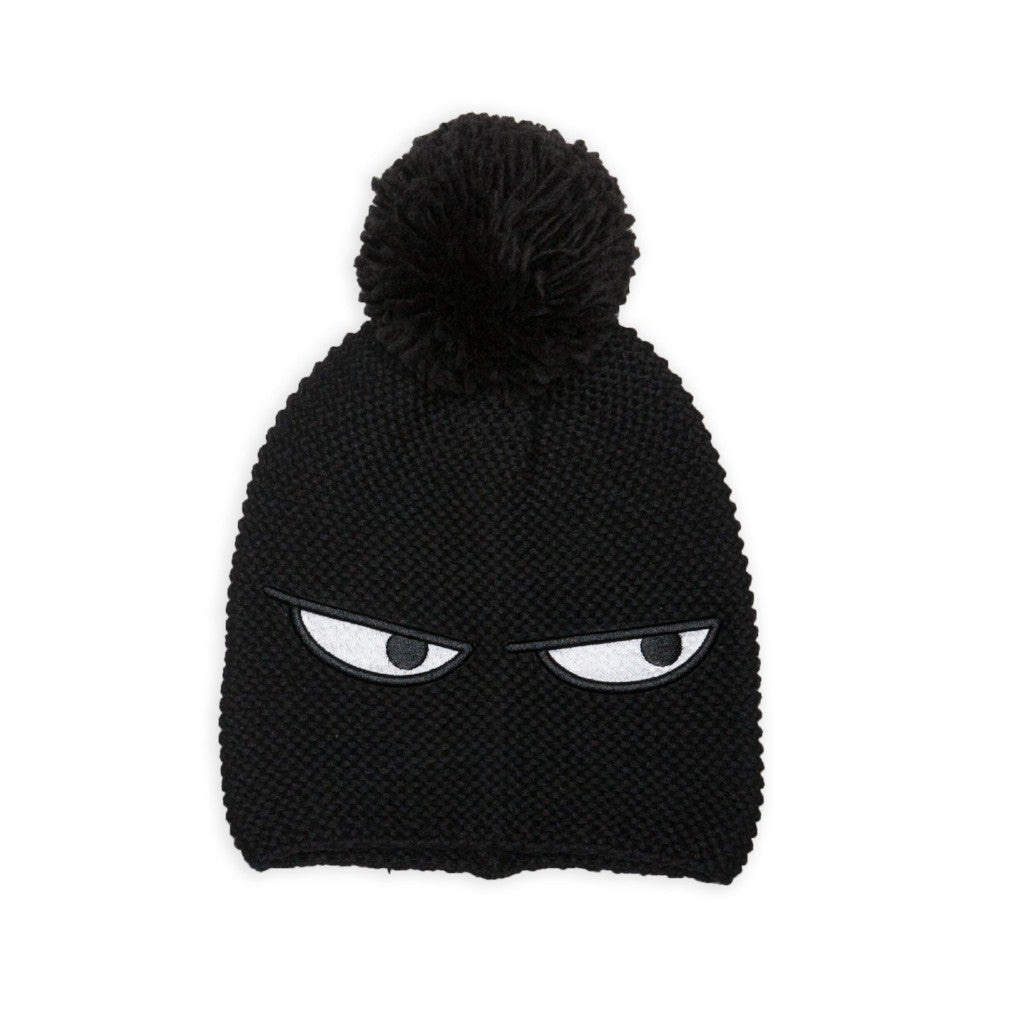 Band of Boys Pom Pom Beanie Sneaky Eyes Black LAST ONE