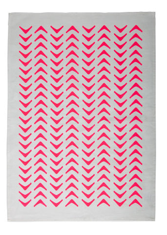 Aztec Tea Towel - Neon Pink