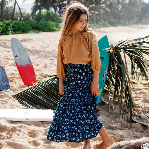 Island State Co Maxi Skirt Floral Blue
