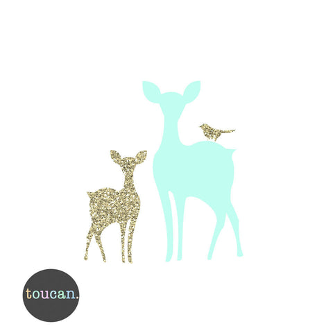 Fawn and Deer Print -Mint