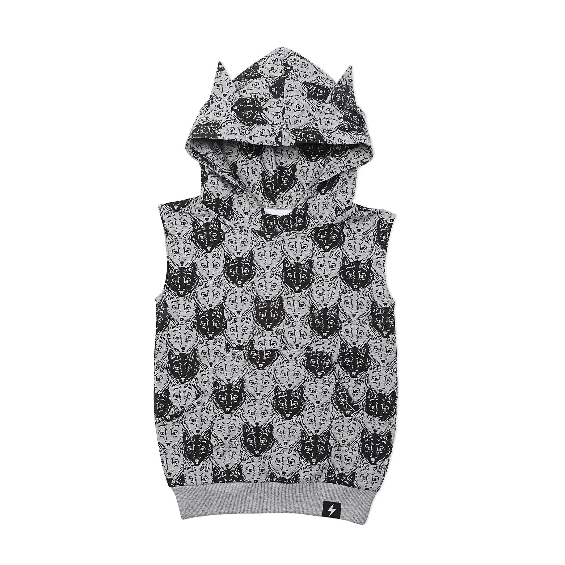 Kapow Wolf Camo Hooded Vest Grey Marle