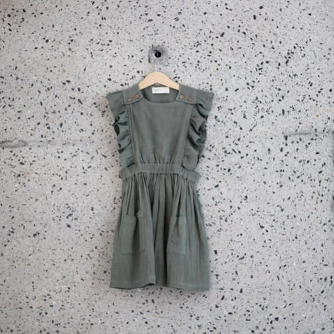 60% off Ruffets & Co Penny Pinafore - Khaki LAST ONE SIZE 5