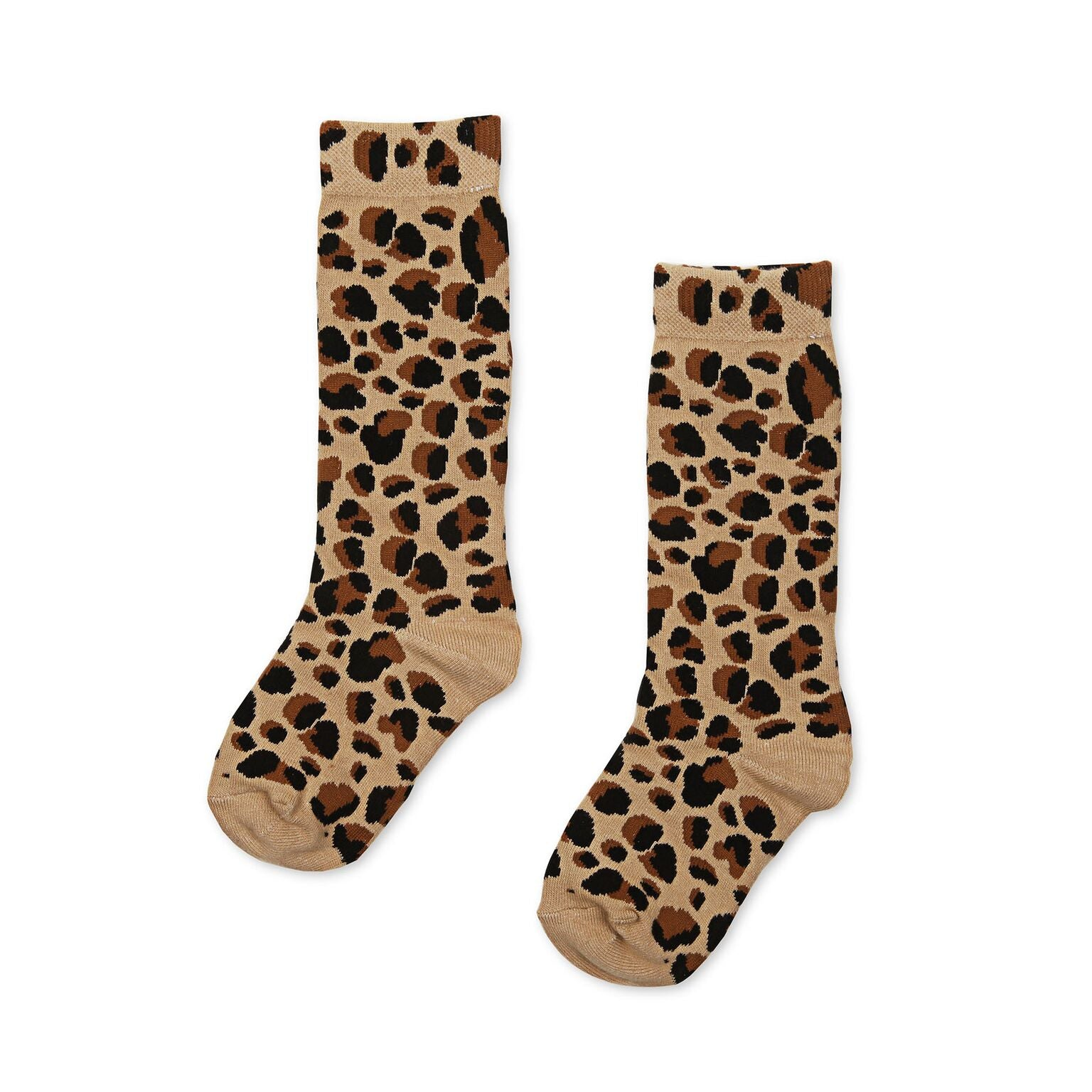 Kapow Leopard Print Knee High Socks Beige