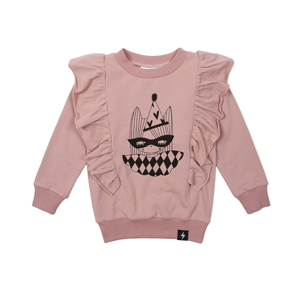Kapow Harlequin Placement Ruffle Sweater