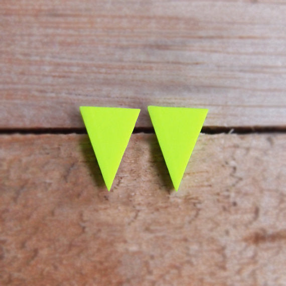 Neon Yellow Triangle Studs