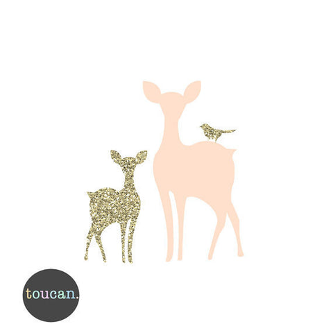 Fawn and Deer Print-Peach