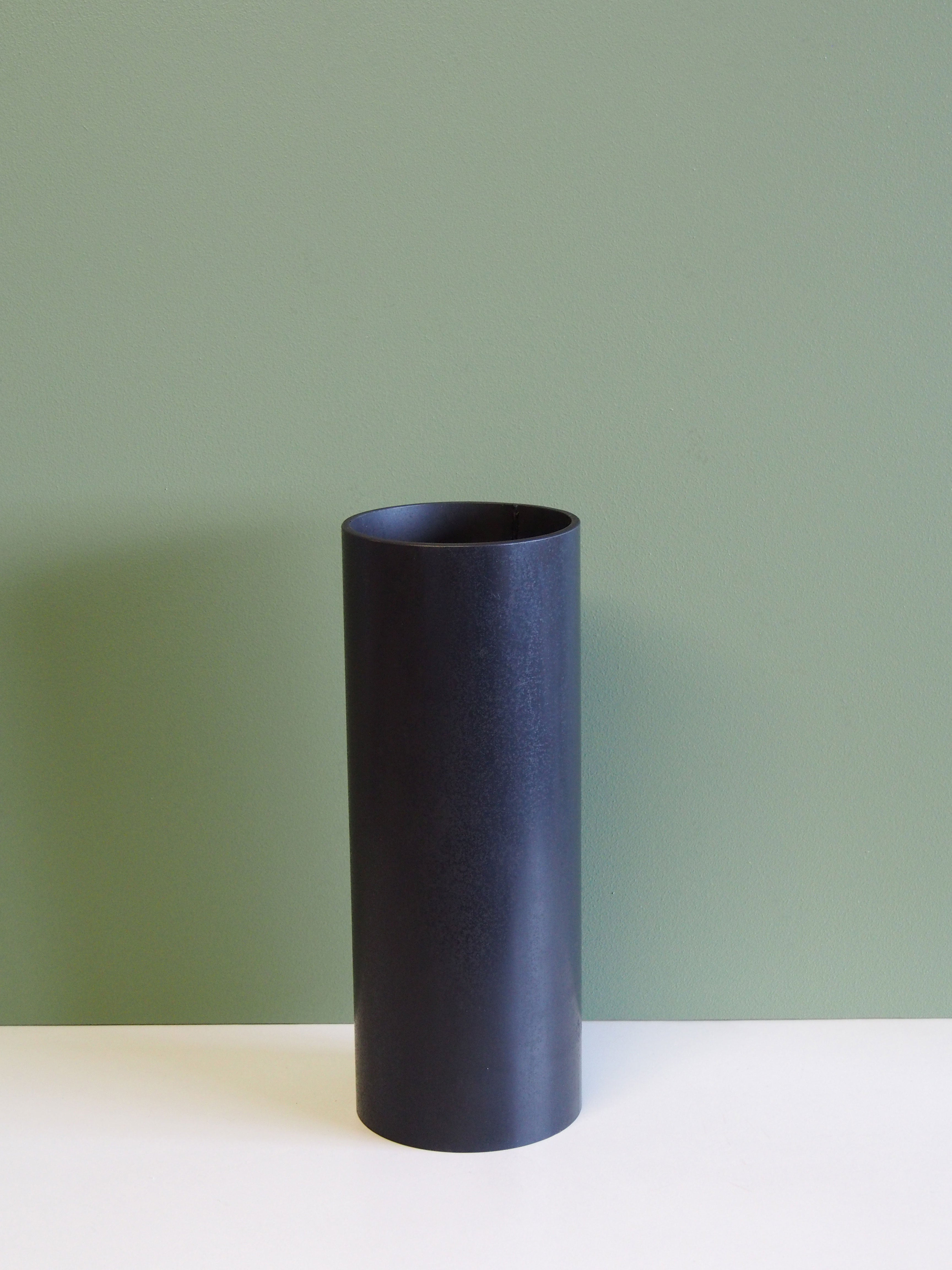 X-Large Blackened Steel cylinder vases