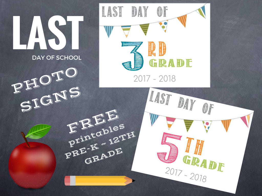 picture regarding Last Day of School Signs Printable named Past Working day of Higher education Printable 2018 - Barn Owl Primitives