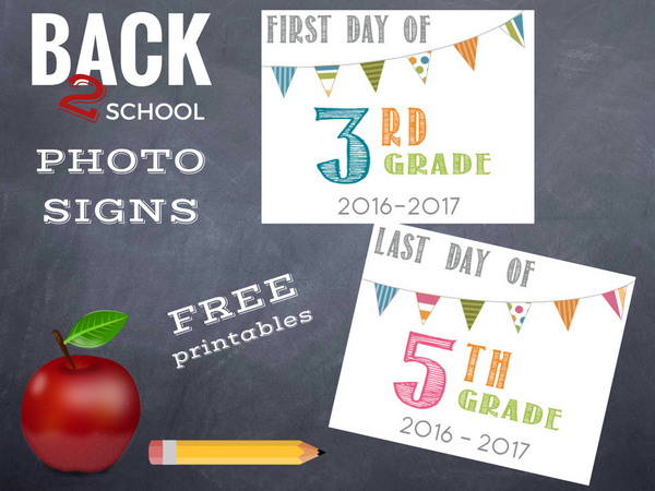 Back To School free printables 2016-2017 First and Last day of school photo props from Barn Owl Primitives