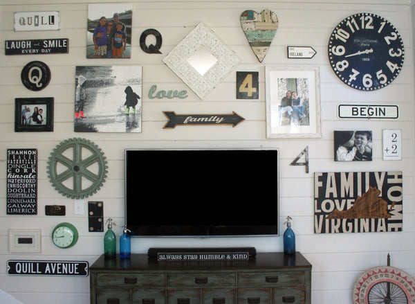 large shiplap gallery wall with TV. photo wall, accent wall, home decor