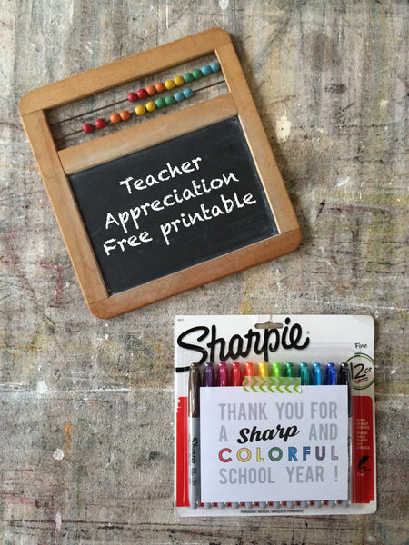 teacher appreciation sharpie marker free printable