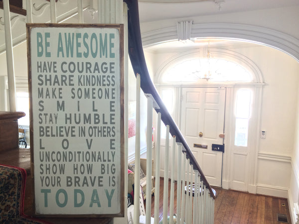 what being awesome means to us - Barn Owl Primitives Painted Wood Sign with rustic frame