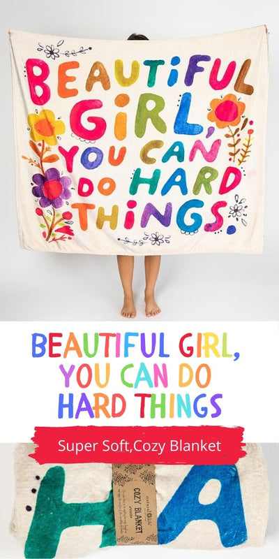 Beautiful Girl - You Can Do Hard Things Tapestry Blanket