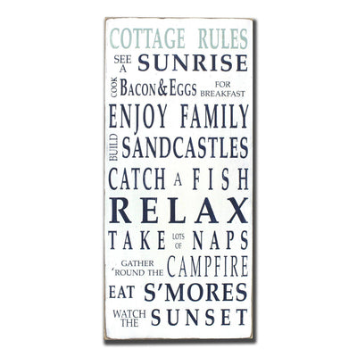 cottage rules, sign, Barn Owl Primitives, home decor, vintage inspired decor