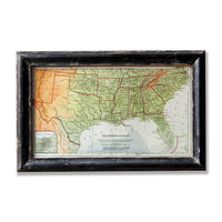 Map of the South - Distressed Frame, , - Barn Owl Primitives, vintage wood signs, typography decor,