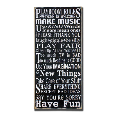 playroom rules portrait, sign, - Barn Owl Primitives, vintage wood signs, typography decor,