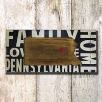 Pennsylvania, sign, - Barn Owl Primitives, vintage wood signs, typography decor,
