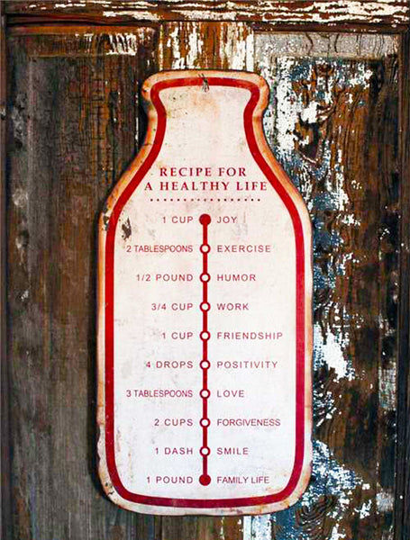 Vintage Recipe for a healthy life sign, Metal sign, Barn Owl Primitives