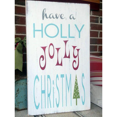 a holly jolly christmas, sign, - Barn Owl Primitives, vintage wood signs, typography decor,