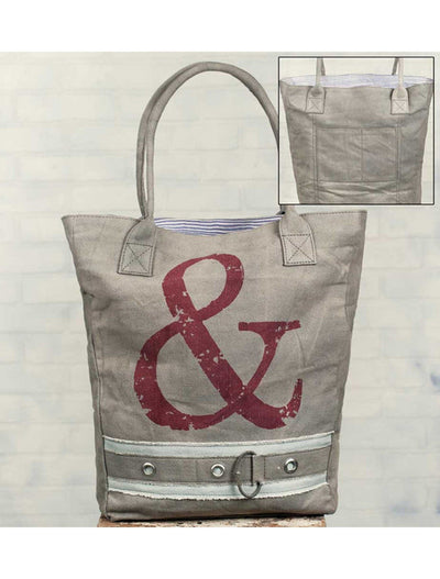 ampersand market bag, tote bag, Barn Owl Primitives, home decor, vintage inspired decor