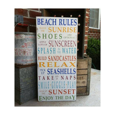 beach rules - rainbow, sign, - Barn Owl Primitives, vintage wood signs, typography decor,
