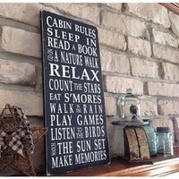 cabin rules, sign, - Barn Owl Primitives, vintage wood signs, typography decor,