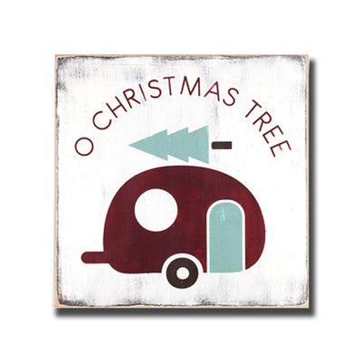 o christmas tree with camper, sign, - Barn Owl Primitives, vintage wood signs, typography decor,