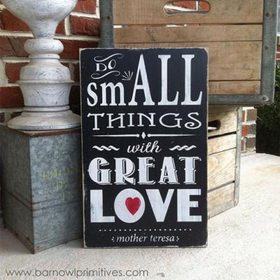 do small things with great love, sign, - Barn Owl Primitives, vintage wood signs, typography decor,